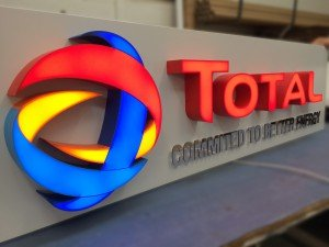 total petrolium illuminated sign